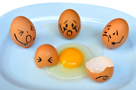 egg with various emotions Stock Photo
