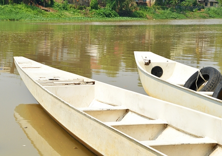 white boat on a ping river, Chiangmai, Thailand