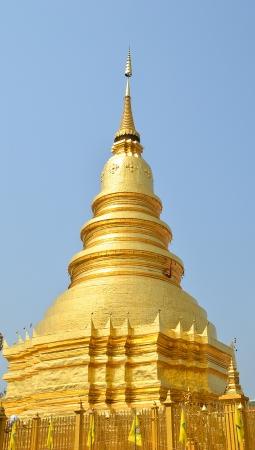 Golden Pagoda at Wat Phra That Hariphunchai , Lamphun Province, Thailand Stock Photo - 18124232