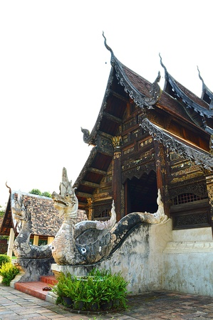 An old wood Buddhist temple Stock Photo