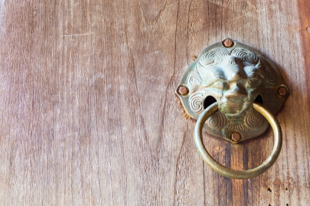 Native Thai style wood door at temple Stock Photo - 18124381