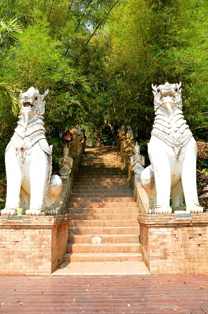two Thai lions statue style with stairway Stock Photo - 18124380