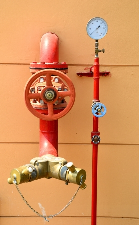 sprinkler alarm: Water sprinkler and fire fighting system Stock Photo