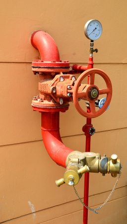 fire fighting equipment: Water sprinkler and fire fighting system Stock Photo