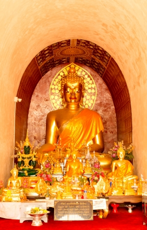 Golden Buddha image in church of Buddhist temple in Thailand Stock Photo - 18380755