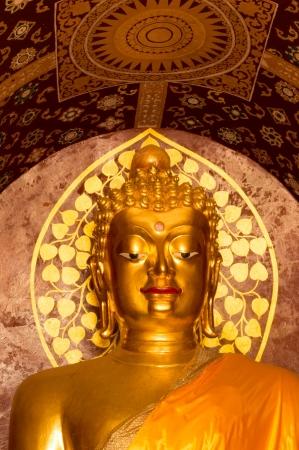 closeup Golden Buddhas image in wat ched yot Chiangmai, Thailand