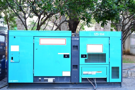 diesel generator: green Mobile electric power generator for emergency situations Stock Photo