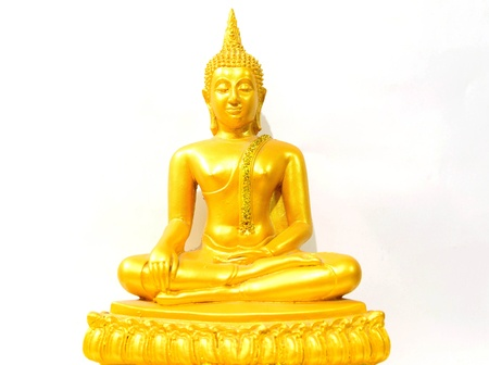 Gold image of buddha isolate on the white background Banco de Imagens