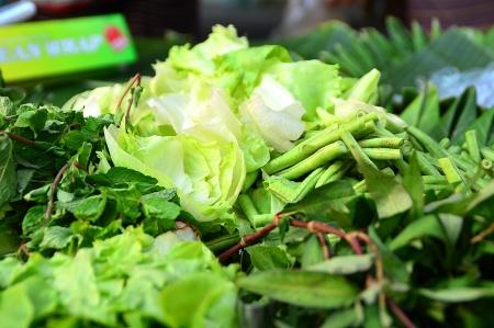 Fresh and organic vegetables at Thai farmers market