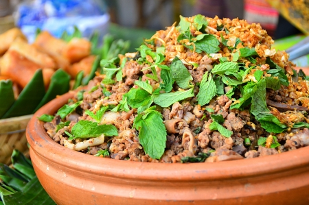 Thai Spicy minced meat salad ,north of thailand very hot and spicy