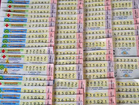 Thai Lottery ticket close-up Stock Photo