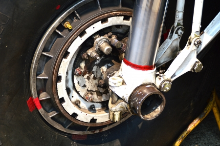 engine part of BT-67 aircraft wheel and break in Chiangmai International Airport