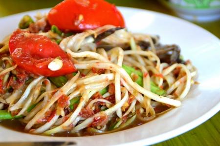 Papaya Salad (Somtum), Delicious and tradition Thai foods photo