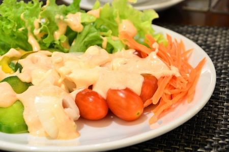 Fresh vegetable salad in white plate topped with thousand island dressing