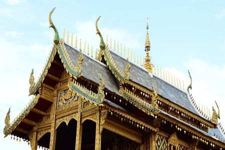 Detail of a buddhist monastery roof in Buddhist Temple, Thailand Stock Photo - 19510379