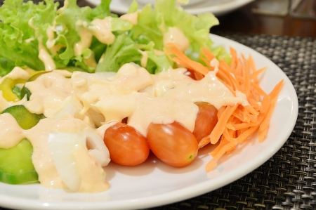 topped: Fresh vegetable salad in white plate topped with thousand island dressing