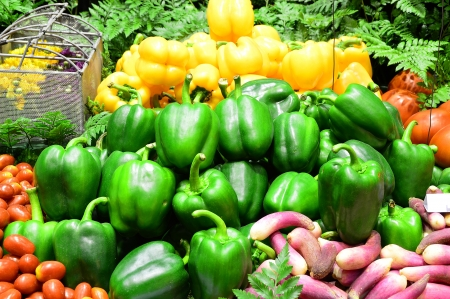 Ripe Yellow, Red and Green Peppers in Vegetables Market, Chiangmai Thailand Stock Photo