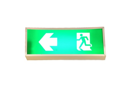 fire exit signs isolate on white background photo