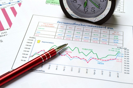 pen clock and business graph on business table Stock Photo