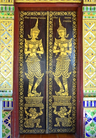 thai buddhist temple door painting