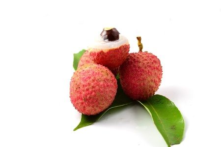 closeup of freshly produced bunch of ripe and delicious Lychee fruits