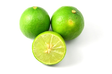 fresh ripe lime isolate on white background