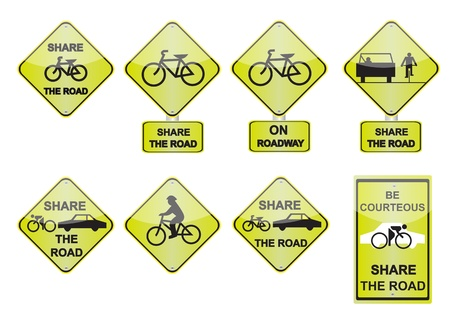 bicycle on the road signs