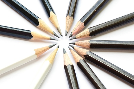 circle of pencil isolate on white photo