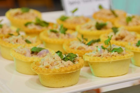 tuna and vegetable tart appetizer Stock Photo
