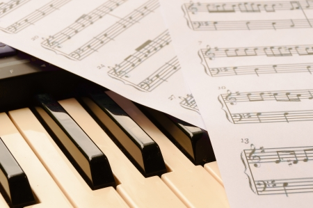 sheetmusic: piano keyboard and sheetmusic note Stock Photo