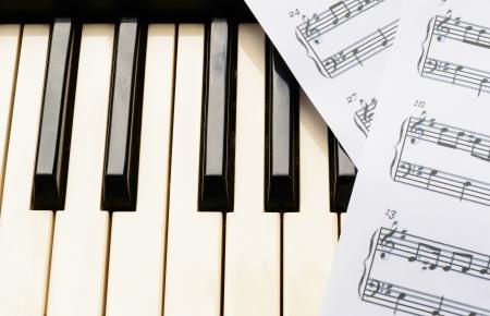 sheetmusic: piano keyboard and sheetmusic note Stock Photo