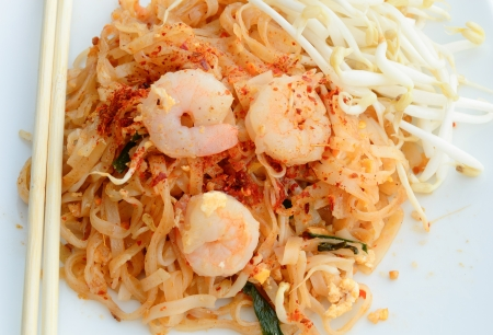 homemade Asian Pad Thai with shrimp and cilantro
