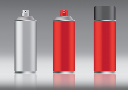 hermetic: red aluminum spray can vector images Illustration