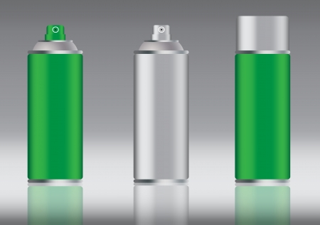 hermetic: green aluminum spray can vector images