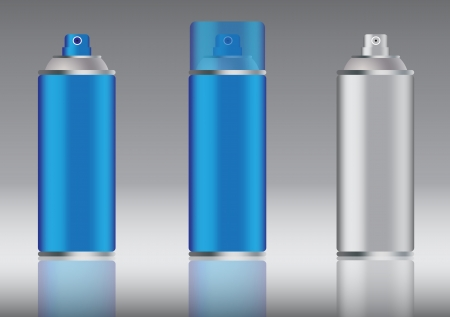 hermetic: blue aluminum spray can vector images