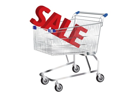 trolly: shopping cart and SALE Symbol inside vector images Illustration