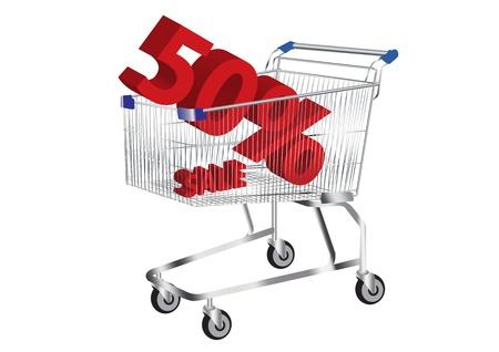 imagenes vectoriales: cesta de la compra con la venta y 50 en el interior del s�mbolo im�genes vectoriales