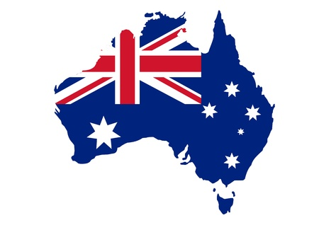 Kaart van Australië in Australische vlag kleuren