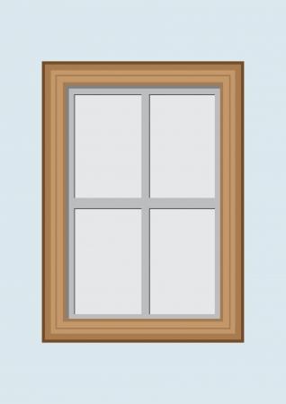 Wooden closed window  Vector illustration
