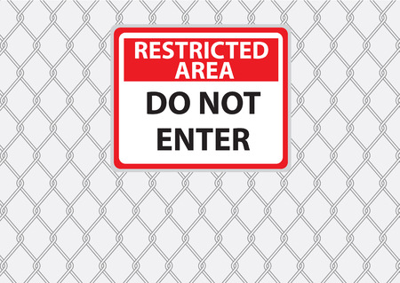 chainlink fence: wire fence with danger signs vector images
