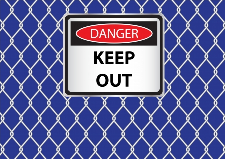 cautions: wire fence with danger signs vector images