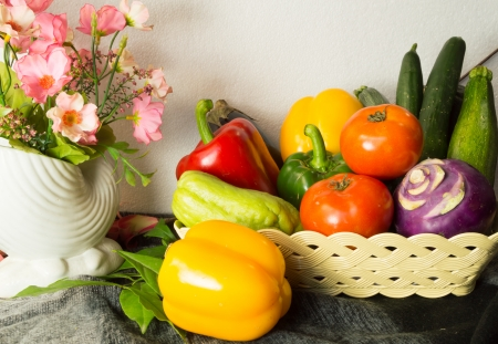 fruits and vegetables in autumn vintage still life