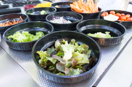 salad bar with vegetable in restaurant