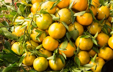 a pile of oranges ready to sell in local market