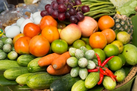 fruits and vegetables in Thai local market, Chiangmai, Thailand