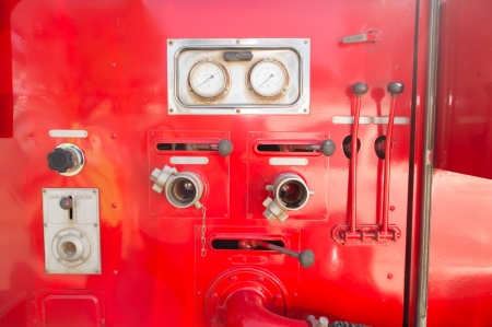Control panel of water pressure on the the fire truck
