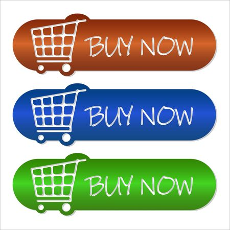 Set of buy now buttons on a white background, three color buttons, blue, orange, green, basket, shopping, vector illustration,