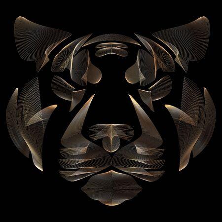 Tiger, tiger head, linear art, golden lines, vector illustration, eps 10