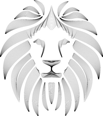 Linear stylized lion. Black and white graphic. Vector illustration can be used as design for tattoo, t-shirt, bag, poster, postcard 向量圖像