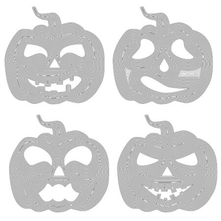 Halloween pumpkin with various expressions, silhouette lines, vector illustration